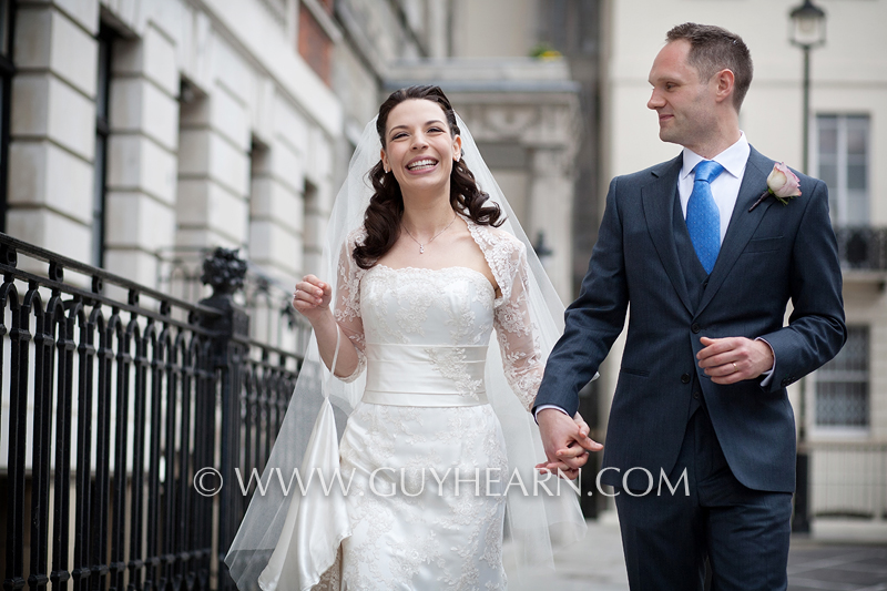 bride and groom london streets photograph