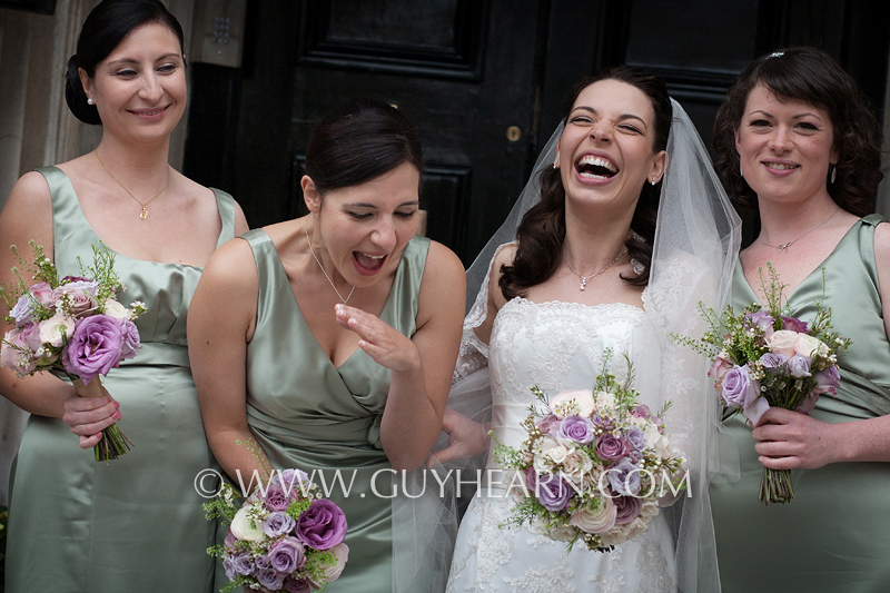 bridesmaids laughing